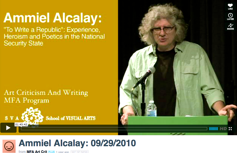 Video of Ammiel Alcalay's Lecture at SVA